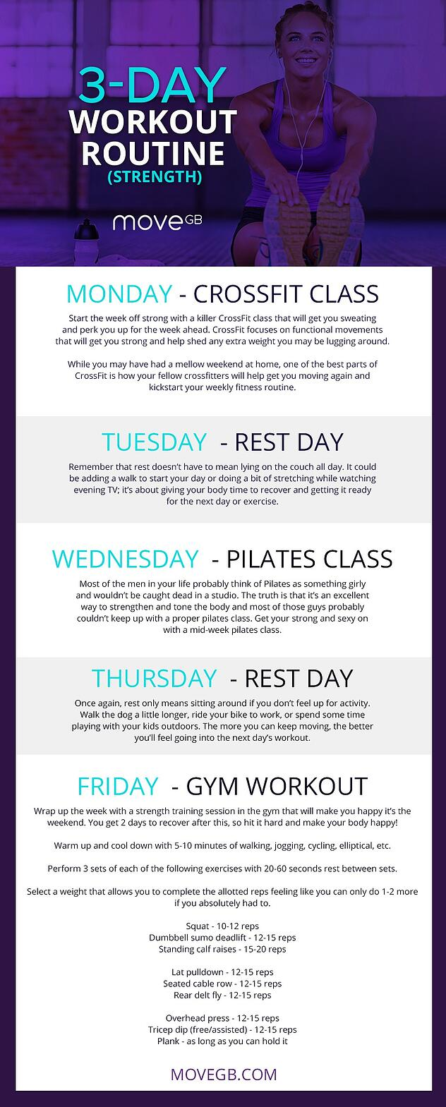 3 Day Workout Routine For Women