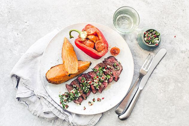 Chimichurri steak & baked sweet potato - Mindful Chef