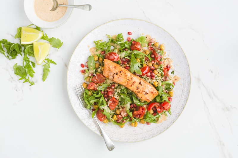 Moroccan salmon, pomegranate & roasted chickpeas