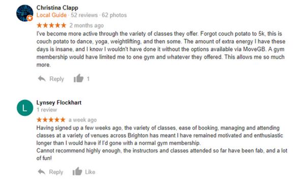 Google reviews - MoveGB