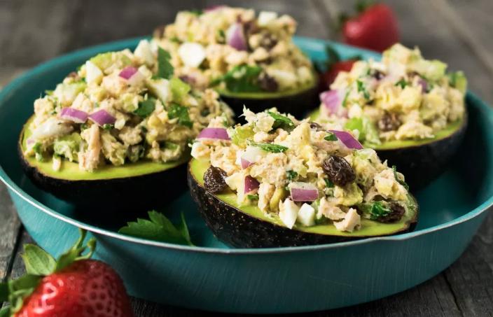 3. Tahini Tuna Salad Stuffed Avocado