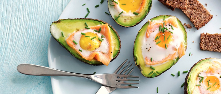 7. Baked avocado with smoked salmon and egg